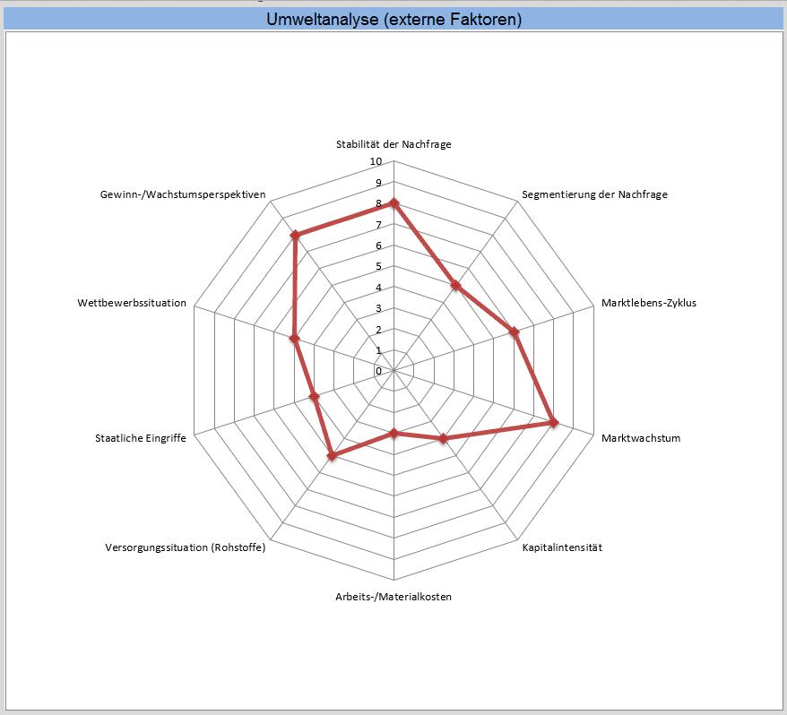 Auswertung der externen Faktoren anhand der eingegebenen Beispiel-Daten.